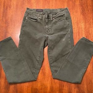 J Crew Mid Rise Toothpick Ankle Green Skinny Jeans